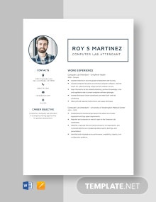 Computer Lab Attendant Resume Template