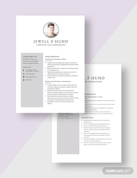 Computer Lab Coordinator Resume Download