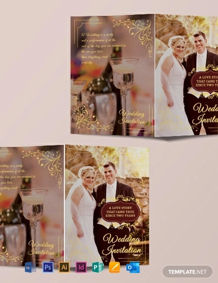 Free Wedding Invitation Bifold Brochure Template