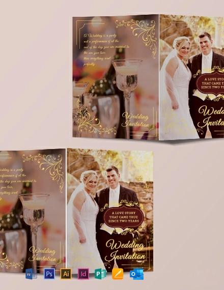Wedding Invitation Bifold Brochure Template
