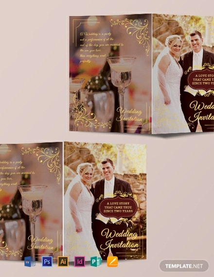 free wedding invitation bifold brochure template 440x570 1