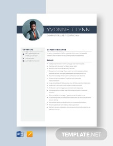 Computer Lab Technician Resume Template