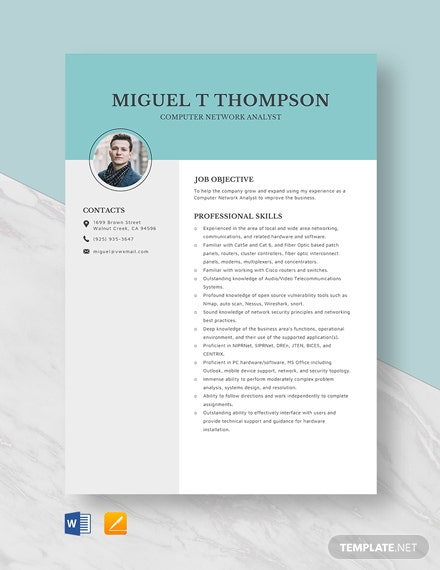 Computer Network Analyst Resume Template