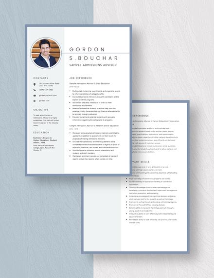 Sample Admissions Advisor Resume Download