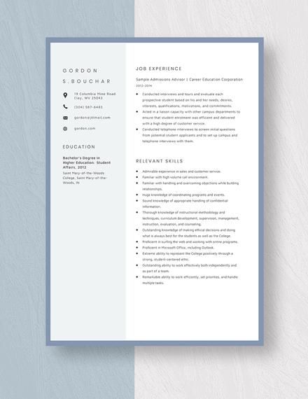 Sample Admissions Advisor Resume Template