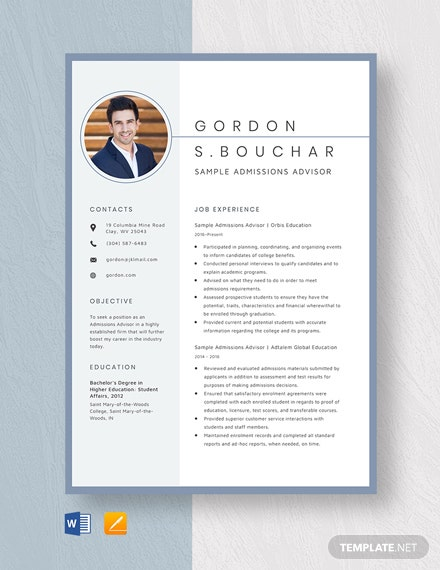 Sample Admissions Advisor Resume Template