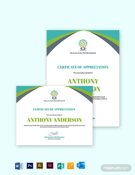 Church Certificate of Appreciation Template