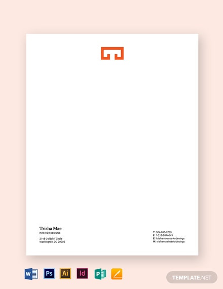 Interior Designer Letterhead Template