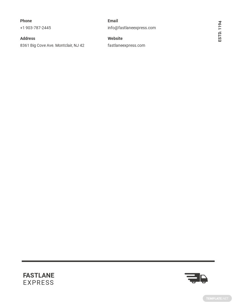 Logistics Company Letterhead Template
