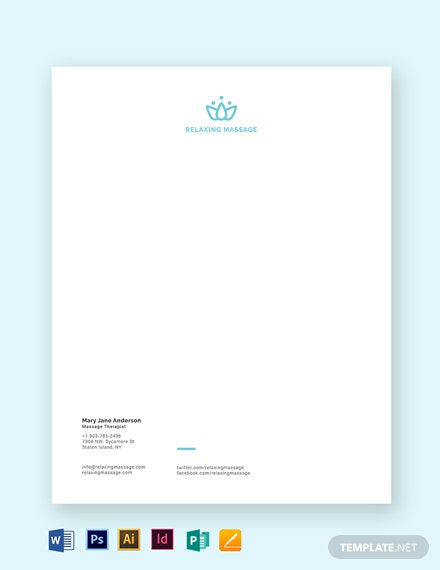 Massage Therapy Letterhead Template