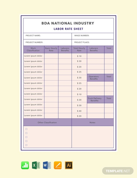 Free Labor Rate Sheet Template
