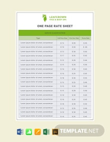 Free One Page Rate Sheet Template