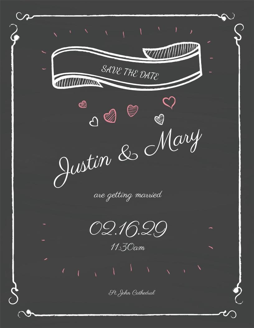 Chalk Board Fall Wedding Flyer Template