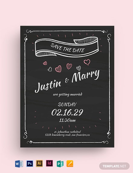 Chalk Board Fall Wedding Flyer Template