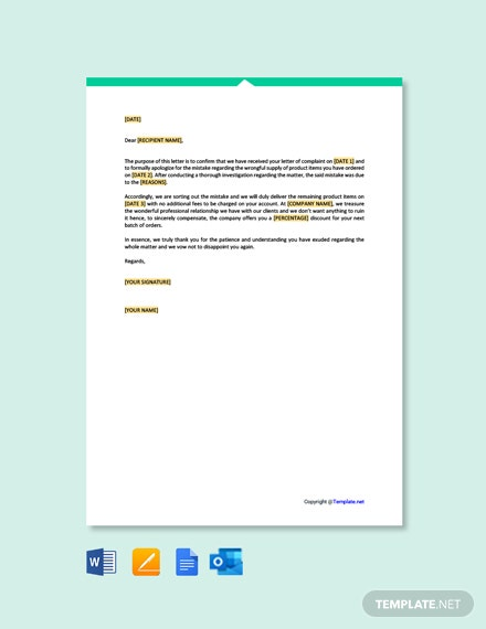 Free Business Apology Letter for Mistake