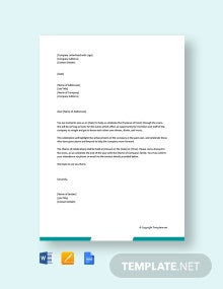 Free Celebration Letter