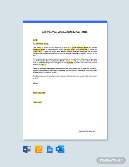 Construction Work Authorization Letter