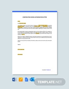 Free Construction Work Authorization Letter