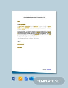 Free Personal Sponsorship Request Letter