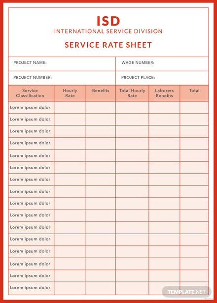 rate sheets templates - free rate sheet templates download ready made