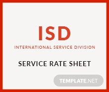 Free Service Rate Sheet Template