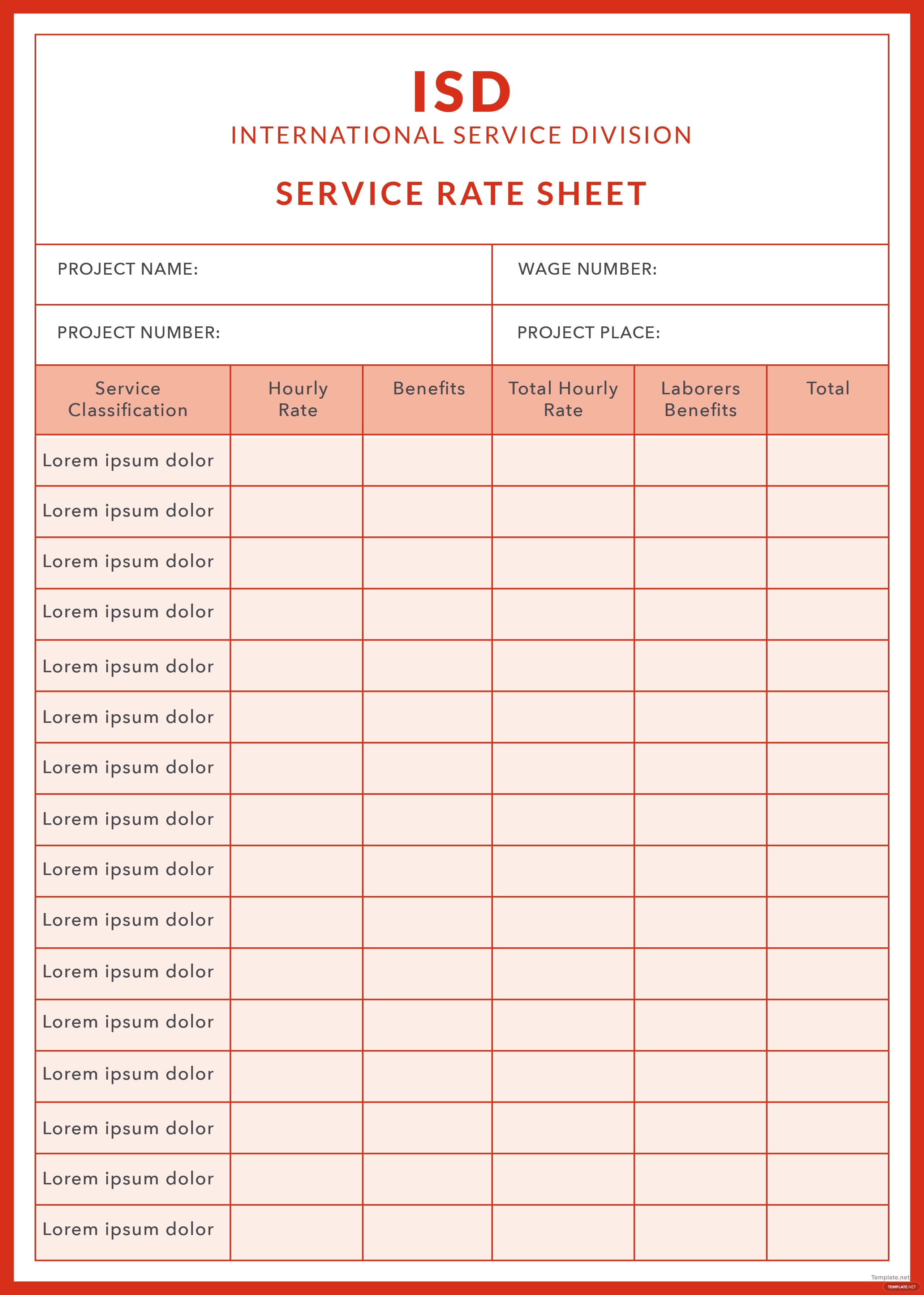 Free Service Rate Sheet Template in Adobe Illustrator, Microsoft ...