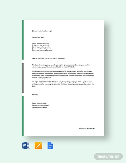 Free Proposal Rejection Letter