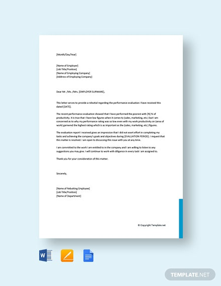 Free Rebuttal Letter to Your Employer