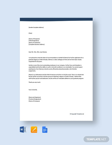 Free Recommendation Letter For Colleague For Graduate School