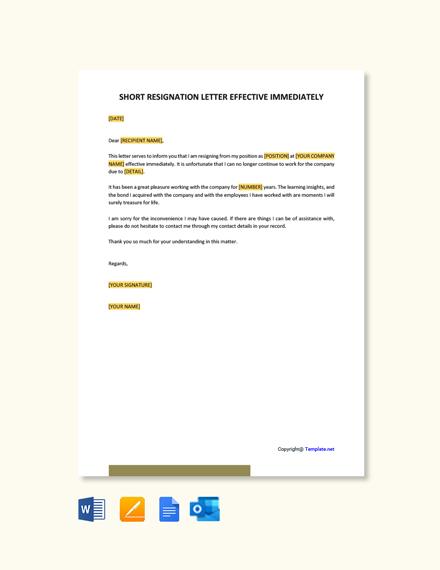 Free Short Resignation Letter Effective Immediately