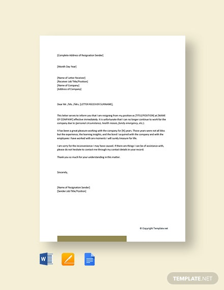 Short-Resignation-Letter-Effective-Immediately Mac Resignation Letter Template on free printable company, 2 week notice, for school aide,