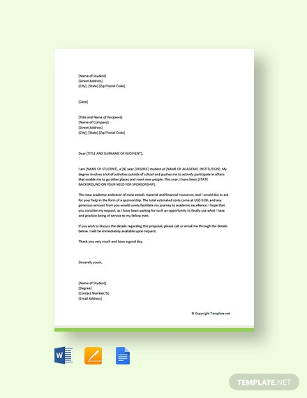 free sponsorship request letter for student template