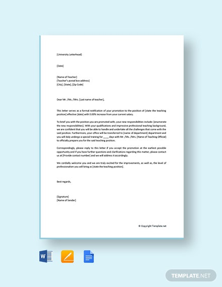 Free Teacher Promotion Letter