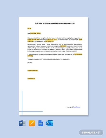Teacher-Resignation-Letter-for-Promotion-2 Mac Resignation Letter Template on free printable company, 2 week notice, for school aide,
