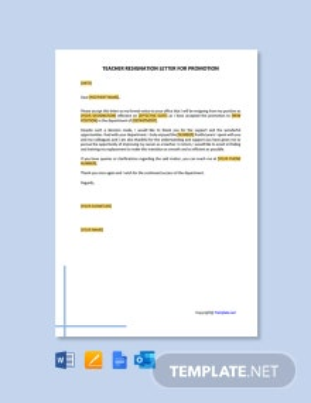 Free Teacher Resignation Letter for Promotion