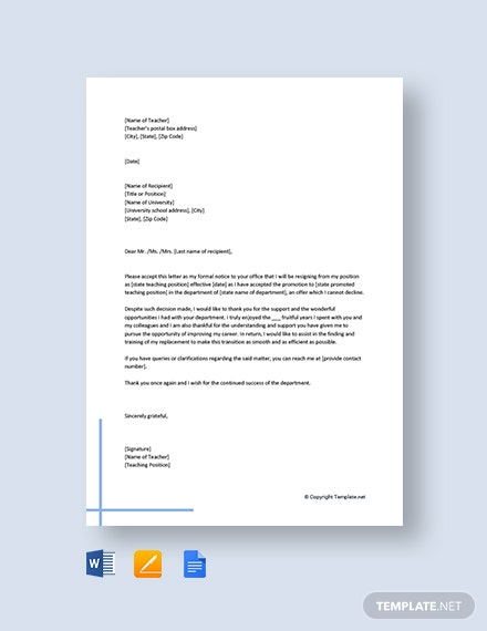 Free Teacher Resignation Letter for Promotion
