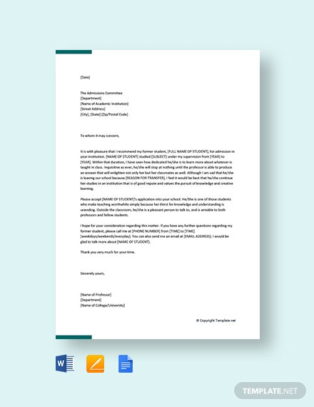 Free Transfer Recommendation letter