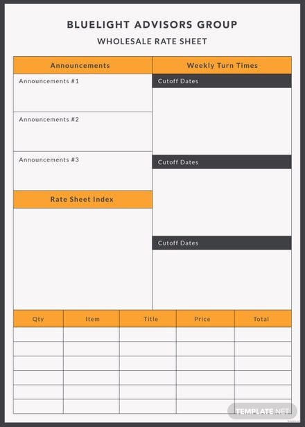Free Wholesale Rate sheet Template