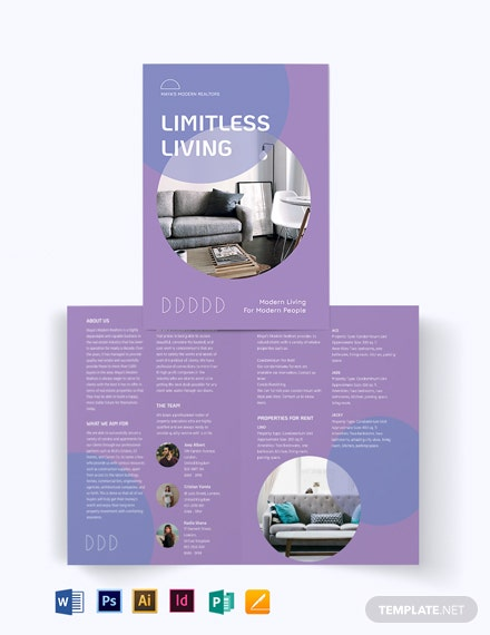 Condo Apartment Vacation Rental Bi-Fold Brochure Template
