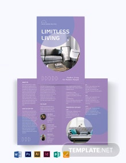 Condo Apartment Vacation Rental Bi-Fold Brochure Template