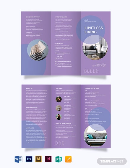 Condo Apartment Vacation Rental Tri-Fold Brochure Template
