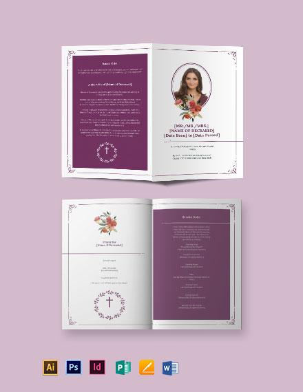 Blank Catholic Funeral Bi-Fold Brochure Template