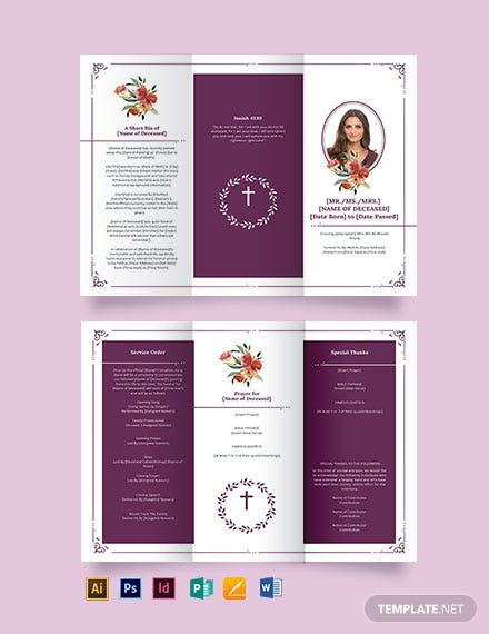 Blank Catholic Funeral Tri-Fold Brochure Template