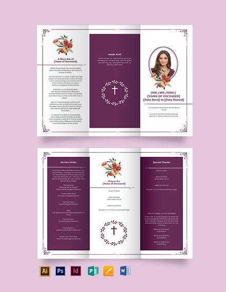 Blank Catholic Funeral Tri-Fold Brochure Template