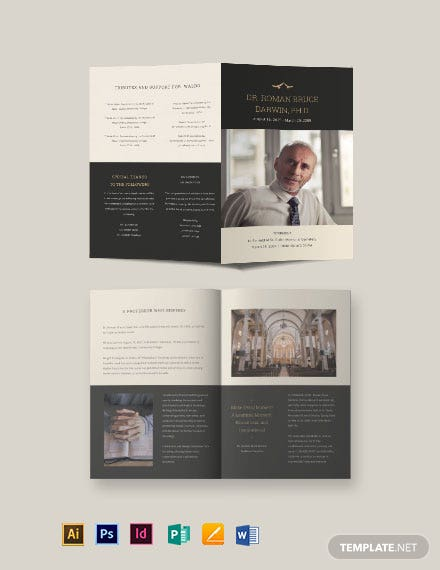 Booklet Funeral Memorial Brochure Template