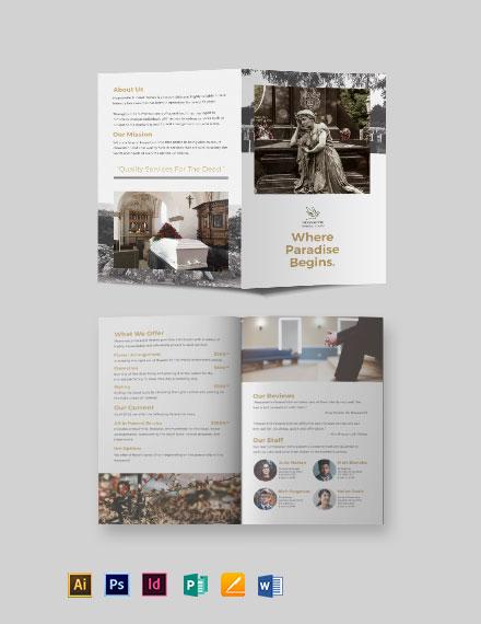 Burial Funeral Service Bi-Fold Brochure Template