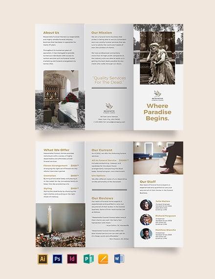 Burial Funeral Service Tri-Fold Brochure Template