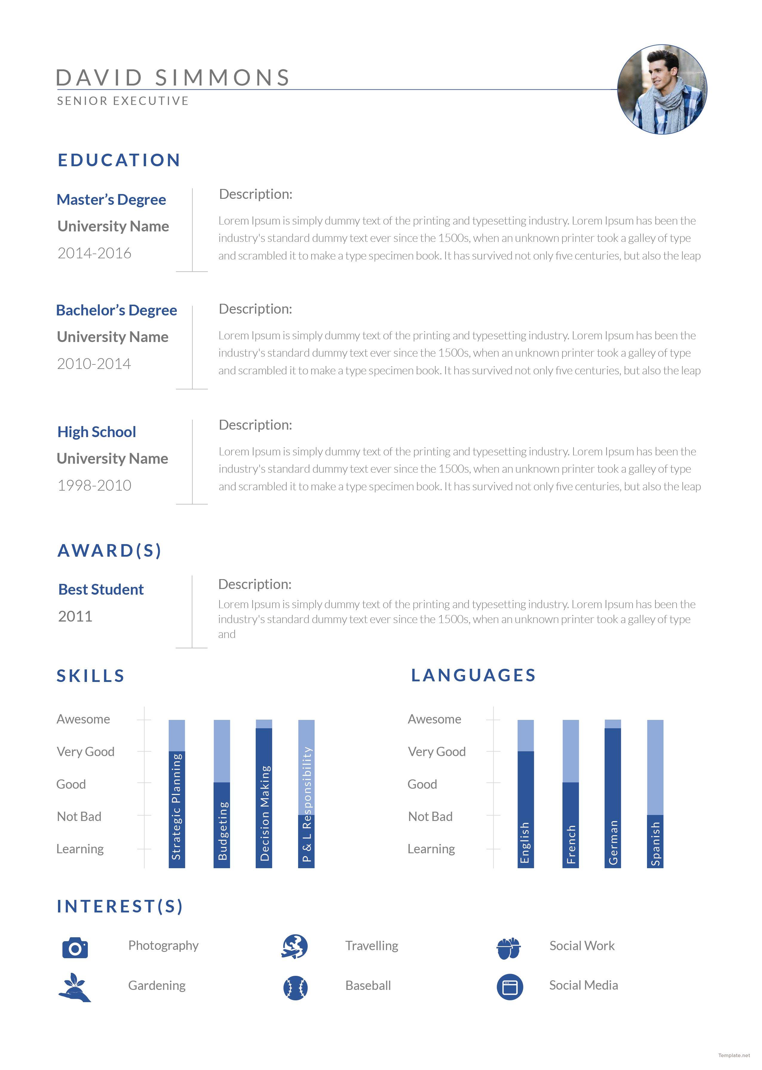 Free Senior Executive Resume Template in Adobe Photoshop, InDesign ...