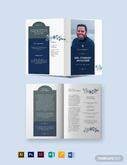 Catholic Burial Funeral Bi-Fold Brochure Template