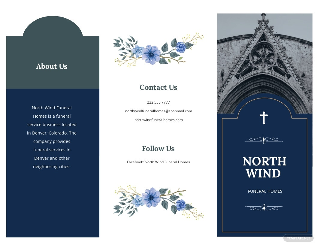 Catholic Burial Funeral Tri-Fold Brochure Template [Free JPG] - Illustrator, InDesign, Word, Apple Pages, PSD